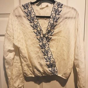 Stylish embroidery wrap shirt